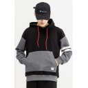 Mens Stylish Colorblock Stripe Letter Printed Long Sleeve Black Pullover Hoodie