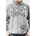 Men's Hot Popular Letter MONSTA Skull Print Long Sleeve Casual Loose Sports Hoodie