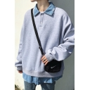 Chic Denim Patched Lapel Collar Button Front Long Sleeve Unisex Loose Fit Pullover Sweatshirt