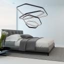Metal Geometric Chandelier Light Modern Black Led Hanging Pendant Light for Living Room