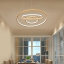 Circular Chandelier Lamp Modern Clear Crystal Integrated Led 3 Tiers Hanging Light