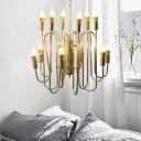 Vintage Candle Hanging Ceiling Light Metal 12 Lights Exposed Bulb Chandelier in Polished Gold