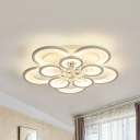 Modern Flower Led Flush Light White 10/12/16 Lights Metal Flush Mount Ceiling Light in Warm