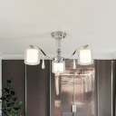 3/6/8/10 Lights Cylinder Semi Flushmount Light with Inner White Glass Modernism Living Room Lighting in Chrome