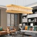 Metal and Crystal Linear Pendant Light Modern 6/7 Lights 31.5