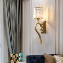 1 Light Cylinder Wall Light Contemporary Metal and Clear Crystal Sconce Light in Gold for Bathroom