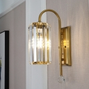Modern Gold Wall Light Cylinder Shade 1/2 Lights Clear Crystal Sconce Light for Bathroom Hotel
