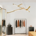 Modern Branch Hanging Pendant Light Metallic Gold Led Chandelier Lighting in Warm/White