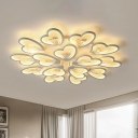 9/12/15 Lights White Bloom Flush Mount Ceiling Light Modern Metal Led Indoor Flushmount Light in Warm/White