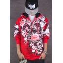 Hip Hop Style Graffiti Archive Print Long Sleeve Exaggerated Zip Up Hoodie