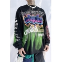 Creative Letter Print Street-Art Graphic Long Sleeve Boxy Sweatshirt