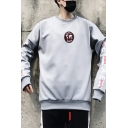 Funny Street Style Letter Big X Print Long Sleeve Loose Relaxed Sweatshirt