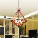 Bohemia Inverted Pendant Lighting 1/3/6 Bulbs Crystal Indoor Ceiling Hanging Light in Antique Copper