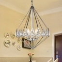 Metal Geometric Hanging Pendant Light 1/3 Lights Modern Nickle Chandelier Lamp with Clear Crystal