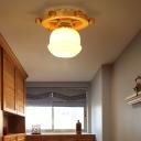 White Glass Flush Fixture Nordic 1 Light Flushmount Ceiling Light with Wheel Backplate for Bathroom