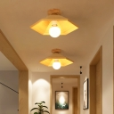 Wooden Conical Ceiling Flush Mount Simple 1 Light Flush Mount Lighting in Wood Finish