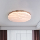 Solid Wood Circular Flushmount Modern Simple Led Flush Mount Ceiling Light in Warm/White with Textured Acrylic Shade, 15