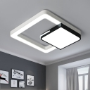 Black and White Square Flush Lamp Nordic Style Metal Led Bedroom Flush Lighting in Third Gear