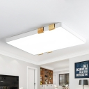 Nordic Rectangular Ceiling Lighting Metallic Grey/White Led Indoor Flush Light with Frosted Acrylic Diffuser