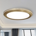 Gold Finish Round Ceiling Flushmount Vintage Led Metal Flush Light for Living Room, Warm/White Light