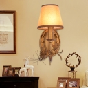 Cone Wall Lighting with Fabric Shade and Bird Accent Countryside 1 Light Wall Sconce in Bronze