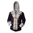 Men Cosplay 3D Print Long Sleeve Zip Up Hoodie with Front Pocket
