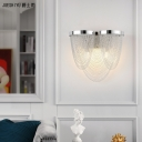 Modern Tassel Wall Light Luxury 2 Lights Metal Chain Wall Sconce in Chrome for Bedroom