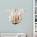 Leaf Glass Wall Sconce Modern 1/3-Light Metal Wall Light Fixture Curved Arm in Brass for Corridor