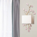Crystal Branch Chandelier Wall Lamp Modernist 2 Lights Wall Sconce with Square Fabric Lampshade in White