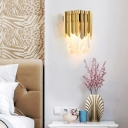 Clear Crystal Prism Wall Mount Light Modernist 2 Heads Wall Lighting in Brass for Bedroom Bedside