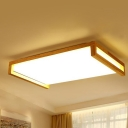 Wood Rectangle Ceiling Lighting Contemporary LED Flush Mount Ceiling Fixture for Bedroom