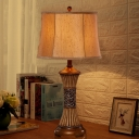 Traditional Vintage Table Light with Linen Drum Shade 1 Light Bedside Table Lighting in Bronze