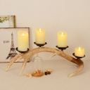 Real Wax Pillar LED Candles 4 Lights Rustic Antler Table Lighting for Bedroom, Battery Powered