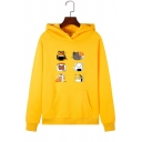Cute Cartoon Cat Collage Long Sleeve Hooded Hoodie with Pocket