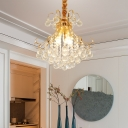 3/4 Lights Clear Crystal Pendant Lighting Modern Hanging Ceiling Light in Gold, 12