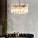 Modernism Round/Rectangle Chandelier Lamp Clear Faceted Crystal 5 Lights Chrome Pendant Light