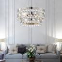 Round Crystal Hanging Ceiling Lights for Bedroom, Modern Metal Unique Chandelier in Chrome