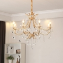 Gold Candle Pendant Chandelier Traditional Crystal 6/8 Lights Hanging Lamp