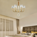 Crystal Cone Shade Pendant Mid-Century Modern 6 Light Hanging Chandelier in Brass for Indoor