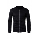 Mens Stand Up Collar Long Sleeve Black Zipper Sweatshirt with Zipper Pocket