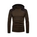 Plain Leisure Mesh Spliced Hood Long Sleeve Pullover Hoodie for Men
