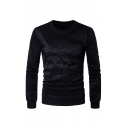 Exclusive Embossed Logo Printed Long Sleeve Plain Pullover Sweatshirt
