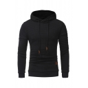 Winter Fall Casual Solid Color Check Jacquard Sport Drawstring Hoodie