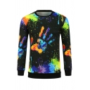 Colorful Splatter Painting Palm Printed Long Sleeve Black Pull Over Sweatshirt