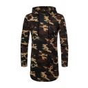 Men's Casual Camo Printed Long Sleeve Drawstring Hood Leisure Longline Hoodie