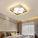 Flower Flush Ceiling Light Modern Integrated Led Metal Flushmount in White