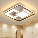 White Squared Flush Light with Black Frame Modern Metal and Acrylic Led Indoor Flush Ceiling Light