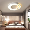 Round/Square Flush Lamp Modern Led White Indoor Lighting with Frosted Diffuser