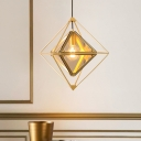 Art Deco Diamond Ceiling Pendant Light Single Light Amber/Smoke Glass Hanging Lamp in Black/Gold