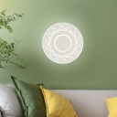 Round Disc Led Wall Mounted Light Modern Acrylic Warm/White Indoor Lighting in Black/White